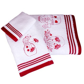 Enchante Turkish Cotton Embroidered Snowman 3-piece Towel Set