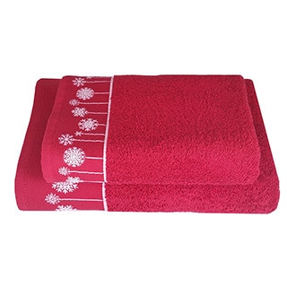 Enchante Snowflake Ornaments Embellished Turkish Cotton 2-piece Towel Set