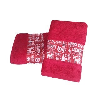 Enchante Merry Christmas Embellished Turkish Cotton 2-piece Towel Set