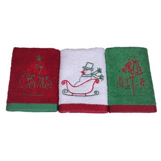 Enchante Merry Christmas Embroidered Turkish Cotton Washcloths (Set of 3)