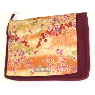 Handmade Medium Burgundy Cherry Blossom Messenger Bag