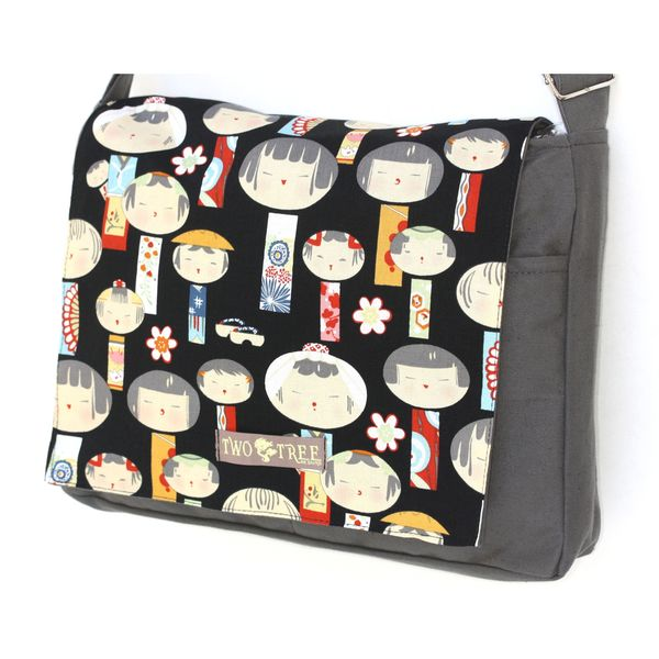 Handmade Medium Grey Kokeshi Messenger Bag