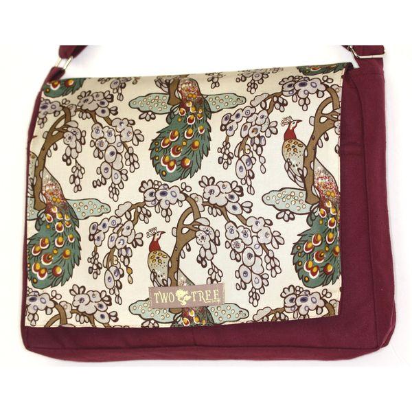 Handmade Medium Burgundy Peacocks Messenger Bag