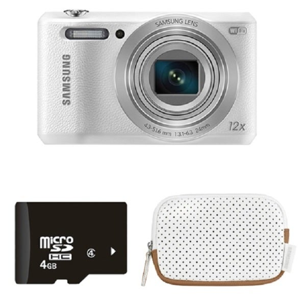 Samsung WB35F 16MP White Digital Camera 4GB Bundle