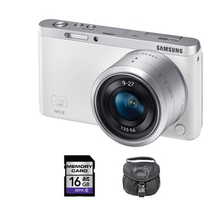 Samsung NX Mini Mirrorless White Digital Camera with 9-27mm Lens 16GB Bundle