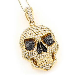 Luxurman 14k Gold 9 1/6ct TDW White and Black Diamond Skull Pendant (H-I, VS1-VS2)