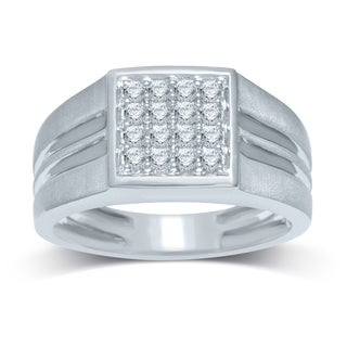 10k White Gold 1/2ct TDW Diamond Square Top Ring (H-I, I2-I3)