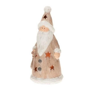 CandleTEK Rustic Ceramic Luminary Flameless Candle Santa