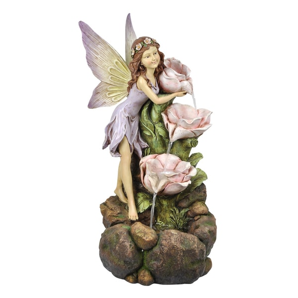 Fairy and Three Flower Tiers Fountain