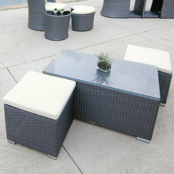 Hollywood Outdoor Rattan Cocktail Table and Two Seating Stools with Cushions