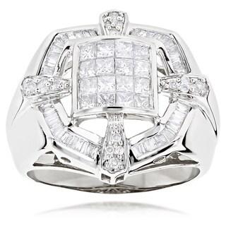 Luxurman 14k White Gold Men's 2ct TDW Diamond Ring (H-I, SI1-SI2)