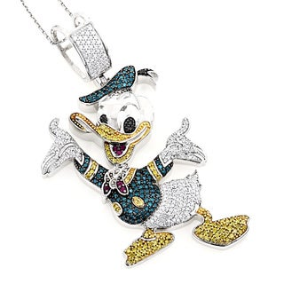 Luxurman 10k White Gold 4 1/10ct TDW Diamond Donald Duck Pendant (H-I, SI1-SI2)