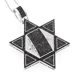 Luxurman 10k Gold Star 3 1/3ct TDW Black Diamond Star of David Pendant