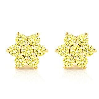 Luxurman 14k White Gold 3ct TDW Yellow Diamond Stud Earrings (SI1-SI2)