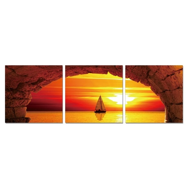 PL Home 'Sailing Into the Sunset' Large 3-piece Split-canvas Print