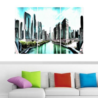 On the Chicago River Large Canvas Artwork