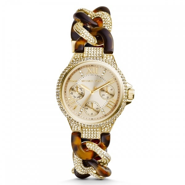 Michael Kors Women's MK4290 Mini Camille Gold Tone and Tort Glitz Watch