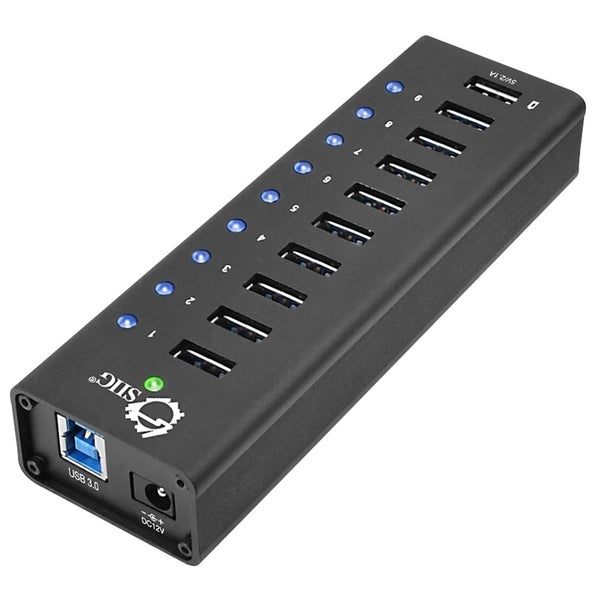 SIIG USB 3.0 9-Port HUB + 1-Port 2.1A Charging with 12V/5A Power Adap