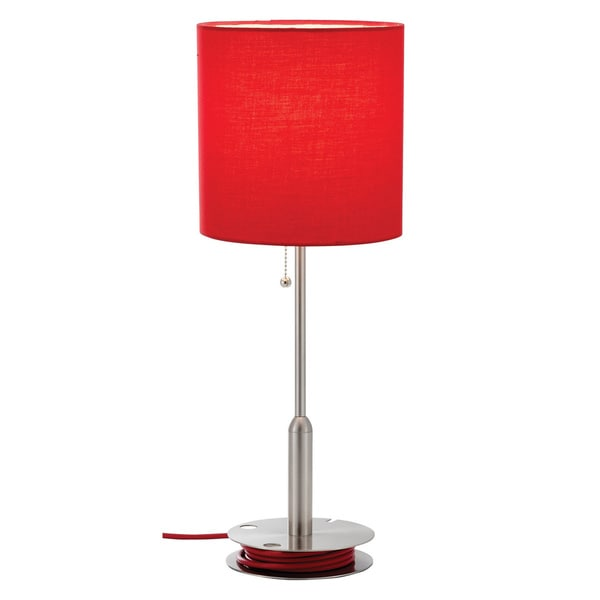 Adesso Bobbin Red 1-light Drum Shade Table Lamp