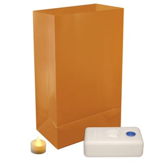 Battery Operated LED Tan Luminaria Kit (Set of 12)