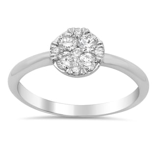 14k white Gold 1/2ct Diamond Cluster Solitaire Engagement Ring (F-G, SI1-SI2)