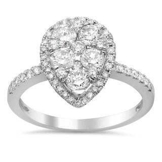 14k White Gold 1 1/4ct TDW Diamond Teardrop Engagement Ring (F-G, SI1-SI2)