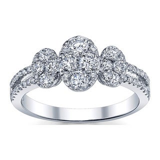 18k White Gold 1 1/10ct TDW Oval Shape Diamond Ring (G-H, SI1-SI2)