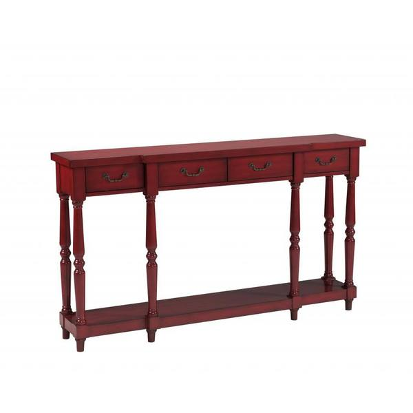 Isaac Burnished Red Four-drawer Console Table
