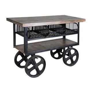 Christopher Knight Home Mango Wood and Iron Trolley Console Table