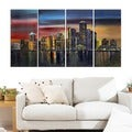 City at Night' 4-piece Gallery-wrapped Canvas Art