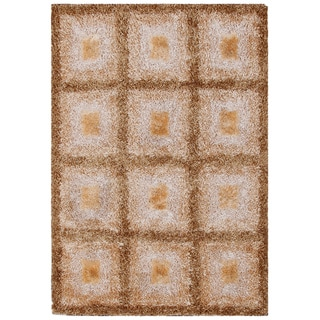 Handmade Shiny Checkered Shag Rug (7' x 9'4)