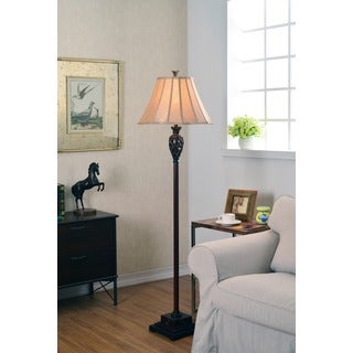 Vetaio Classic Goldtone Fabric Shade Floor Lamp