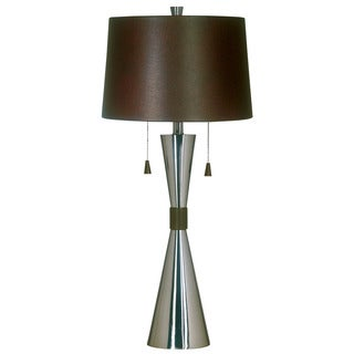 Ashford Faux Leather Shade and Chrome Table Lamp