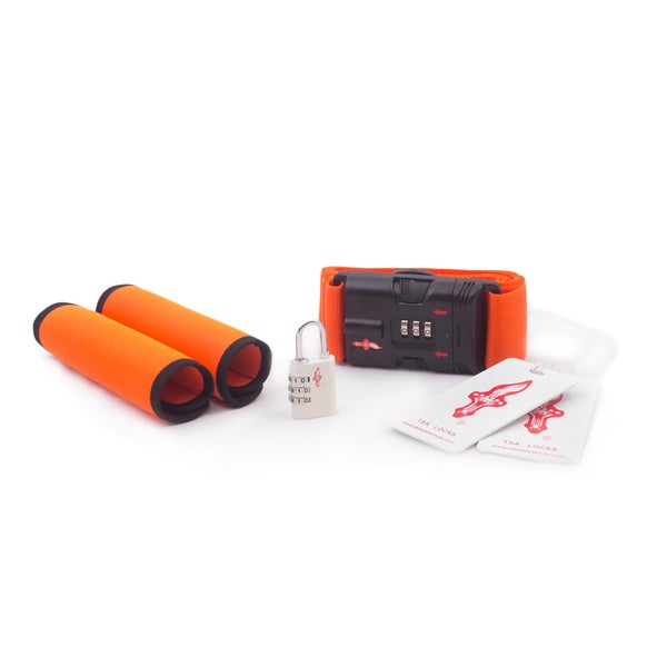 Safe Skies Orange and White TSA Luggage Locks Set