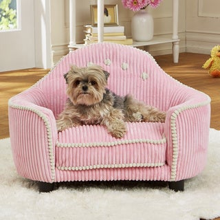 Enchanted Home Pet Laine Pink Corduroy Headboard Pet Bed