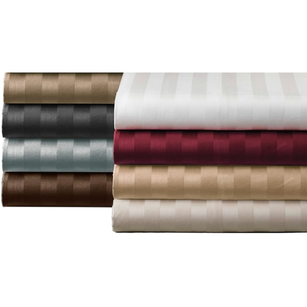 Luxury Supima Cotton 500 Thread Count Damask Stripe Sheet Set (As Is Item)