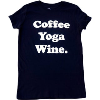3rd Culture Style Women's 'Coffee Yoga Wine' Short-sleeve Activewear Graphic T-shirt