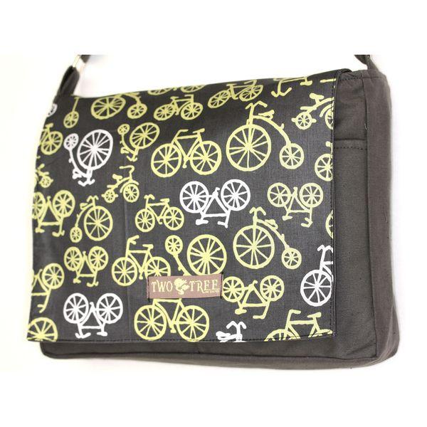 Handmade Medium Grey Citron Bike Messenger Bag