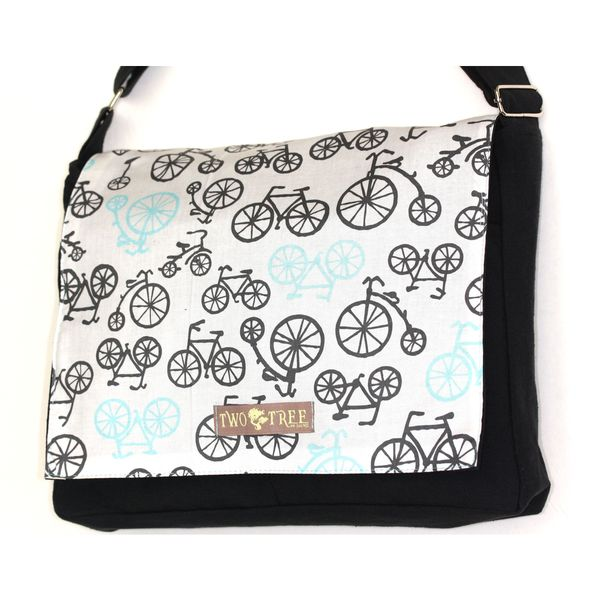 Handmade Medium Black White Bike Messenger Bag