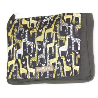 Handmade Medium Grey I Heart Giraffes Messenger Bag