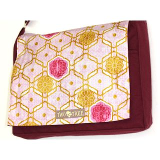Handmade Medium Burgundy Honeycomb Flower Messenger Bag