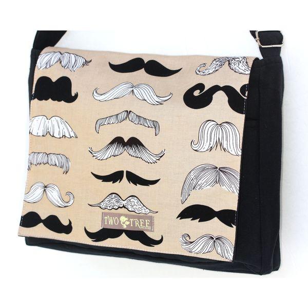 Handmade Medium Black Brown Mustache Messenger Bag