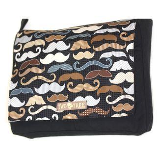 Handmade Medium Black Mustache Variety Messenger Bag
