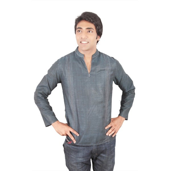 Men's Short Fitted Kurta Navy Tunic with Embroidered Stripes (India)