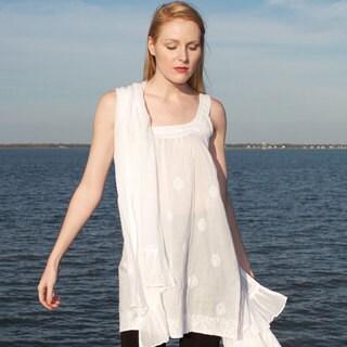 Jaya Embroidered White Sleeveless Tunic (India)