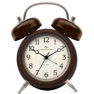 Bronze Twin Bell Tabletop Alarm Clock