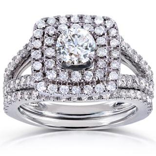 Annello 14k White Gold 1 1/2ct TDW Round-cut Double Halo Diamond Bridal Ring Set (H-I, I1-I2)