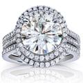 Annello 14k White Gold Round-cut Moissanite and 5/8ct TDW Diamond 3-piece Bridal Ring Set (G-H, I1-I with Bonus Item