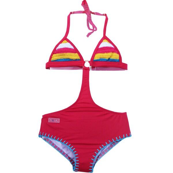 Azul Swimwear Girls' Pink Hippie Hippie Shake Monokini