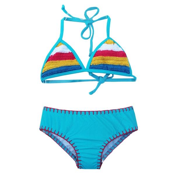 Azul Swimwear Girls' Turquoise Hippie Hippie Shake Triangle Bikini
